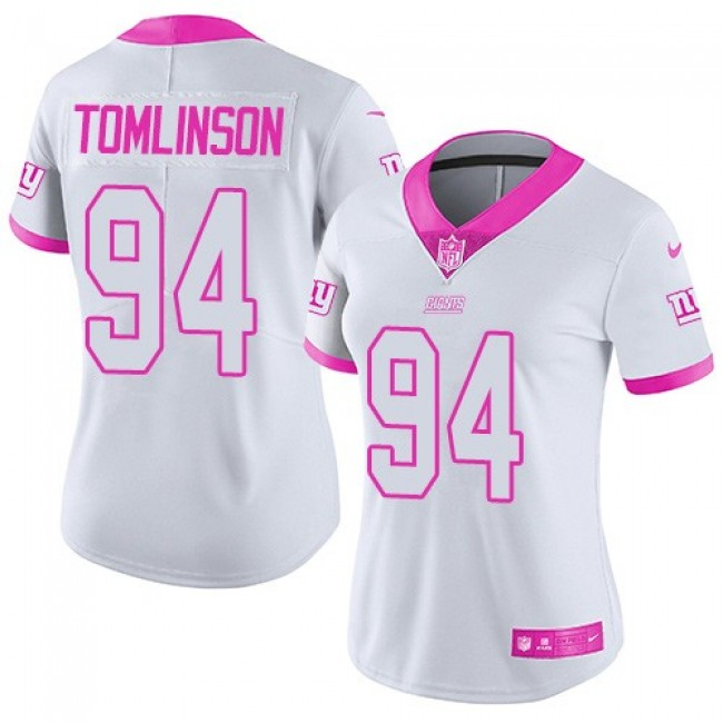 Women's Giants #94 Dalvin Tomlinson White Pink Stitched NFL Limited Rush Jersey