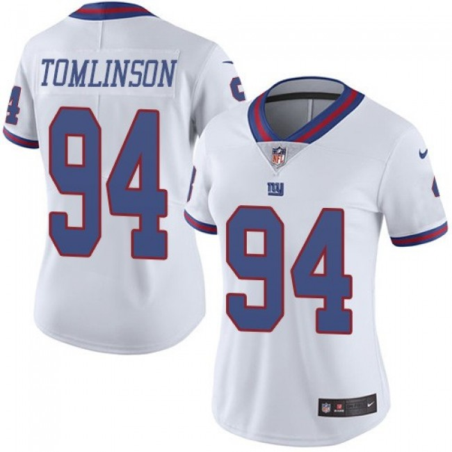 Women's Giants #94 Dalvin Tomlinson White Stitched NFL Limited Rush Jersey