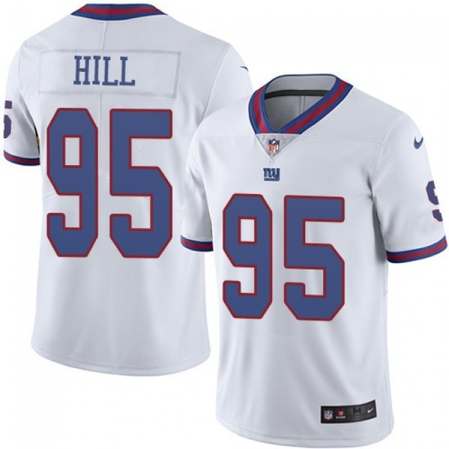 Nike Giants #95 B.J. Hill White Men's Stitched NFL Limited Rush Jersey