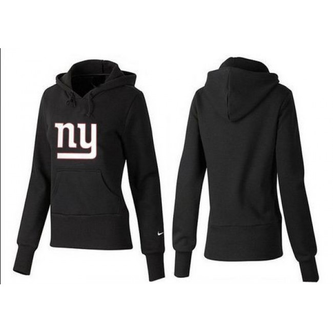 Women's New York Giants Logo Pullover Hoodie Black Jersey
