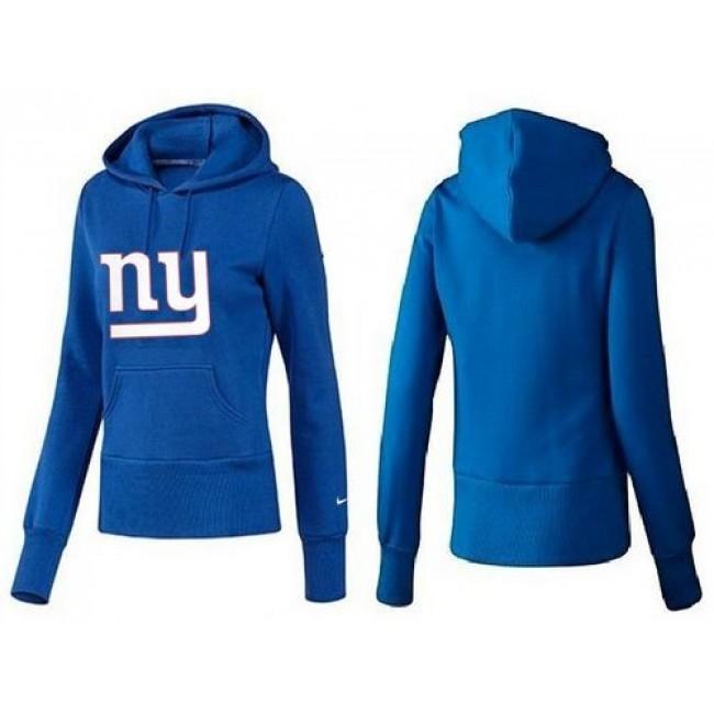 Women's New York Giants Logo Pullover Hoodie Blue Jersey