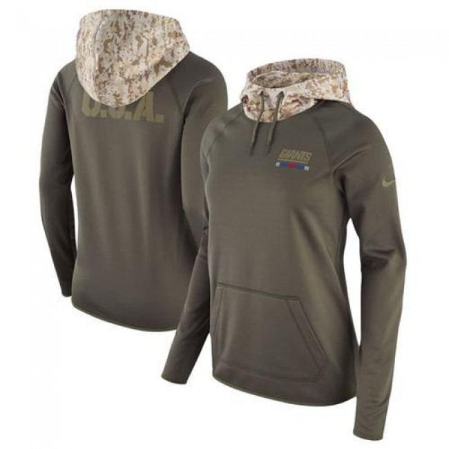 Women's New York Giants Olive Salute to Service Pullover Hoodie Jersey