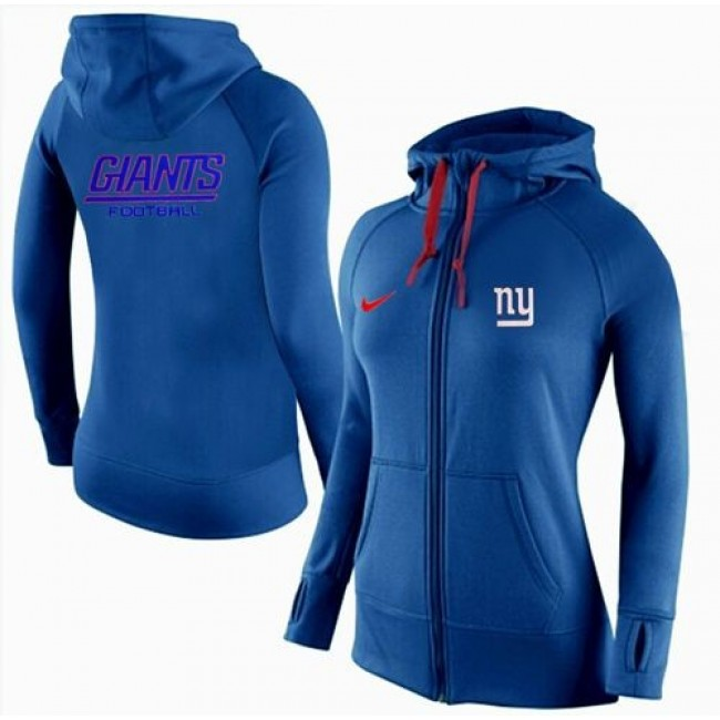 Women's New York Giants Full-Zip Hoodie Blue Jersey
