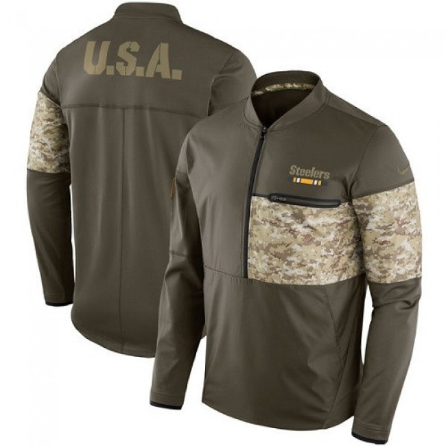 Men's Pittsburgh Steelers Nike Olive Salute to Service Sideline Hybrid Half-Zip Pullover Jacket