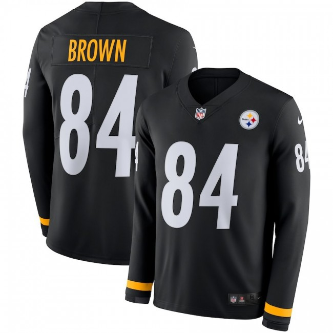 Men's Steelers #84 Antonio Brown Black Team Color Men's Stitched NFL Limited Therma Long Sleeve Jersey