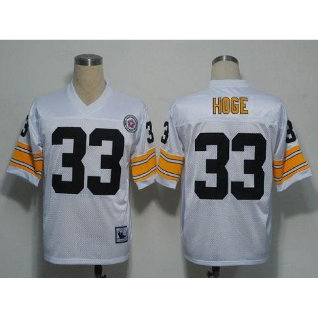 Mitchell and Ness Steelers #33 Merril Hoge White Stitched NFL Jersey