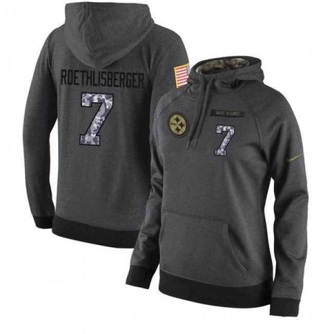 Women's NFL Pittsburgh Steelers #7 Ben Roethlisberger Stitched Black Anthracite Salute to Service Player Hoodie Jersey