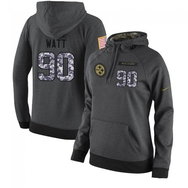 Women's NFL Pittsburgh Steelers #90 T. J. Watt Stitched Black Anthracite Salute to Service Player Hoodie Jersey