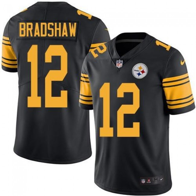 Nike Steelers #12 Terry Bradshaw Black Men's Stitched NFL Limited Rush Jersey