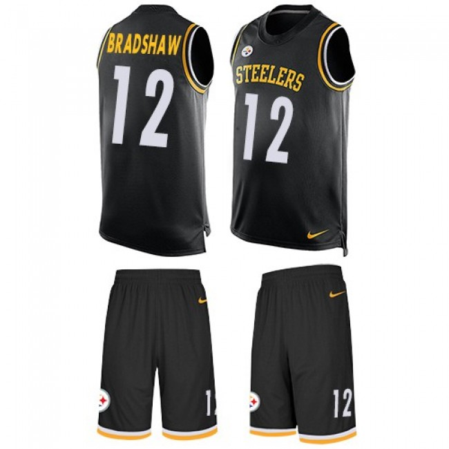 Nike Steelers #12 Terry Bradshaw Black Team Color Men's Stitched NFL Limited Tank Top Suit Jersey