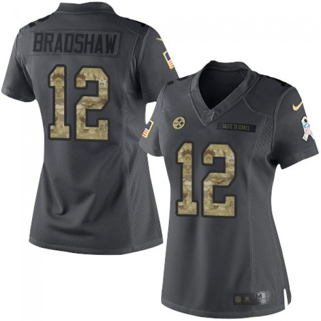 Women's Steelers #12 Terry Bradshaw Black Stitched NFL Limited 2016 Salute to Service Jersey