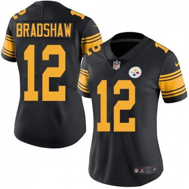 Women's Steelers #12 Terry Bradshaw Black Stitched NFL Limited Rush Jersey