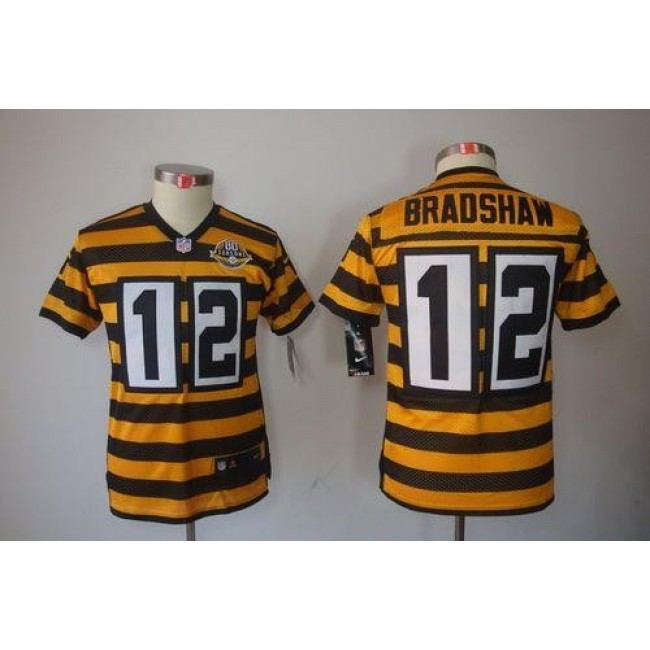Pittsburgh Steelers #12 Terry Bradshaw Black-Yellow Alternate Youth Stitched NFL Limited Jersey