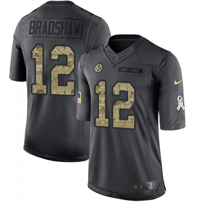 Pittsburgh Steelers #12 Terry Bradshaw Black Youth Stitched NFL Limited 2016 Salute to Service Jersey
