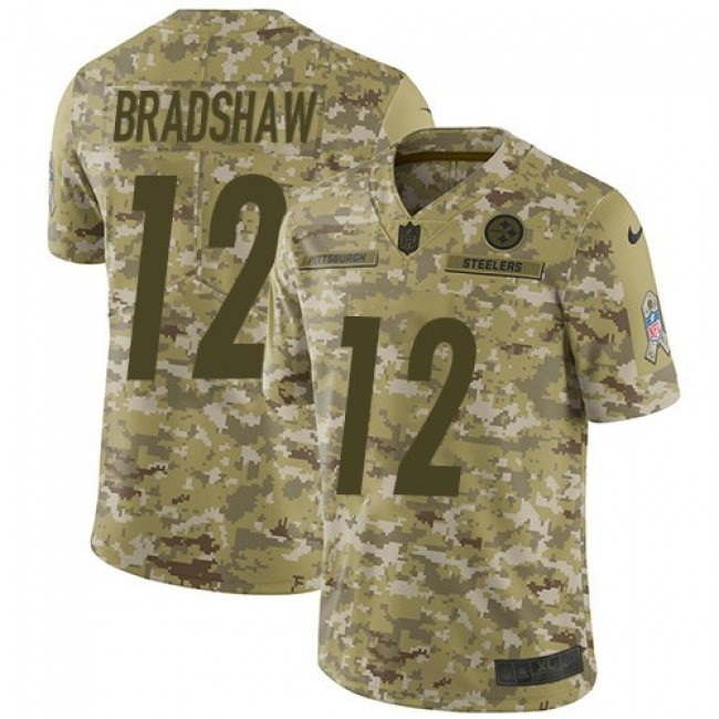 Nike Steelers #12 Terry Bradshaw Camo Men's Stitched NFL Limited 2018 Salute To Service Jersey