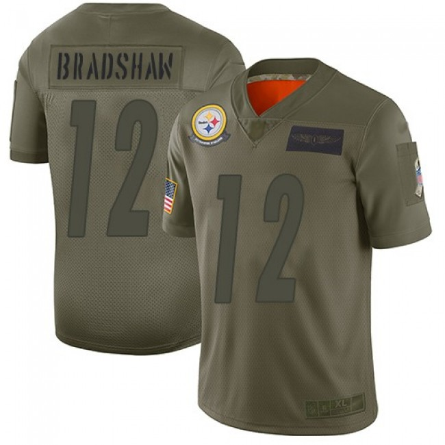 Nike Steelers #12 Terry Bradshaw Camo Men's Stitched NFL Limited 2019 Salute To Service Jersey