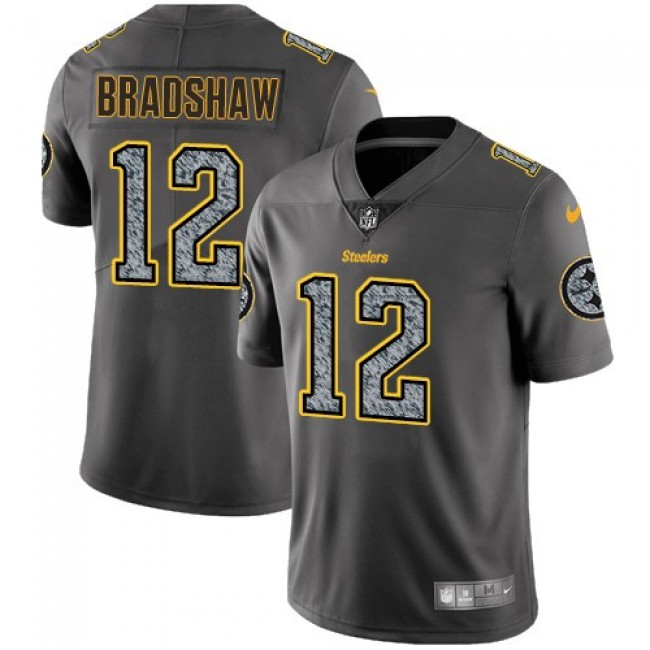 Nike Steelers #12 Terry Bradshaw Gray Static Men's Stitched NFL Vapor Untouchable Limited Jersey