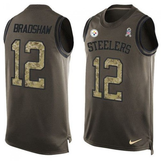 Nike Steelers #12 Terry Bradshaw Green Men's Stitched NFL Limited Salute To Service Tank Top Jersey