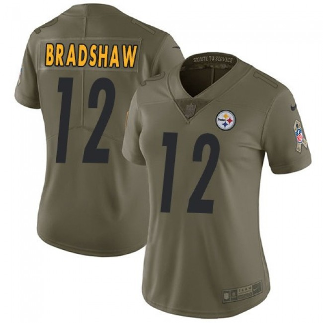 Women's Steelers #12 Terry Bradshaw Olive Stitched NFL Limited 2017 Salute to Service Jersey