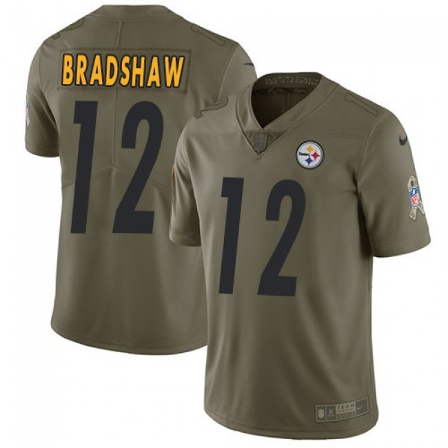 Pittsburgh Steelers #12 Terry Bradshaw Olive Youth Stitched NFL Limited 2017 Salute to Service Jersey