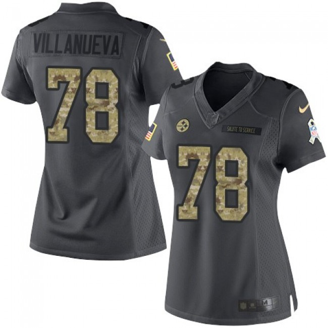Women's Steelers #14 Sammie Coates Black Stitched NFL Limited 2016 Salute to Service Jersey
