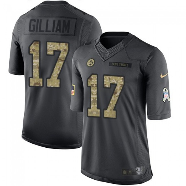 Nike Steelers #17 Joe Gilliam Black Men's Stitched NFL Limited 2016 Salute to Service Jersey