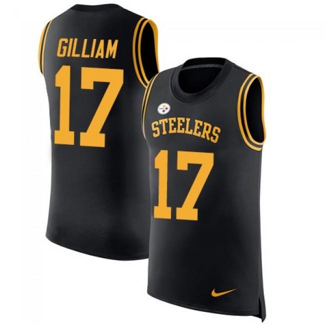 Nike Steelers #17 Joe Gilliam Black Team Color Men's Stitched NFL Limited Rush Tank Top Jersey