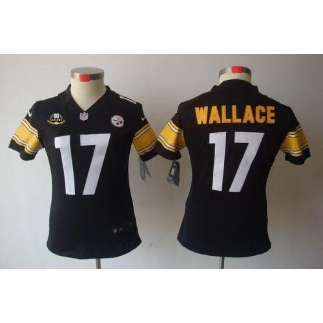 Women's Steelers #17 Mike Wallace Black Team Color With 80TH Patch Stitched NFL Limited Jersey