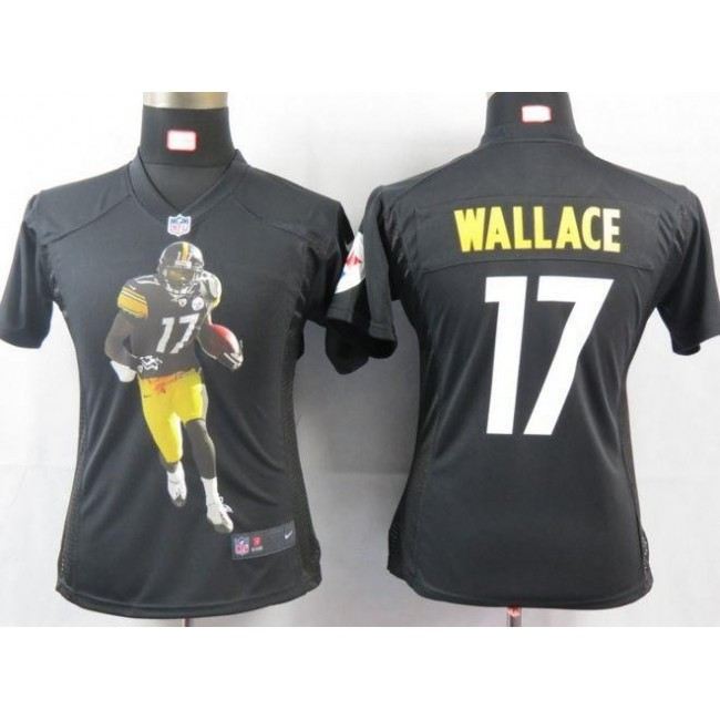 Women's Steelers #17 Mike Wallace Black Team Color Portrait NFL Game Jersey