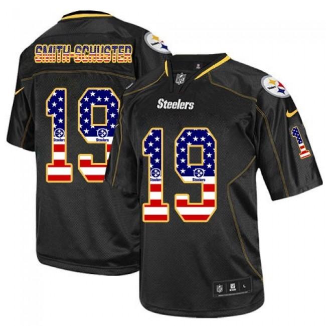 Nike Steelers #19 JuJu Smith-Schuster Black Men's Stitched NFL Elite USA Flag Fashion Jersey