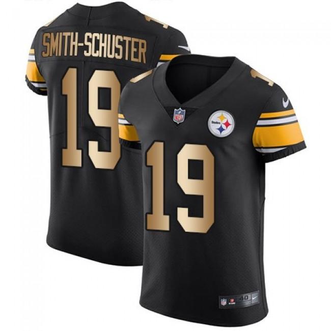 Nike Steelers #19 JuJu Smith-Schuster Black Team Color Men's Stitched NFL Elite Gold Jersey