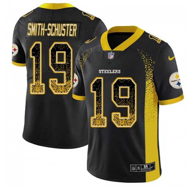 Nike Steelers #19 JuJu Smith-Schuster Black Team Color Men's Stitched NFL Limited Rush Drift Fashion Jersey