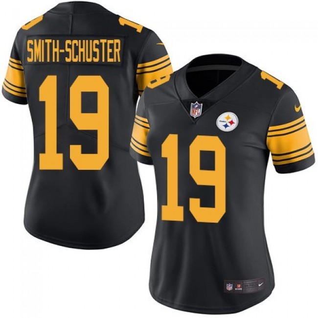 Women's Steelers #19 JuJu Smith-Schuster Black Stitched NFL Limited Rush Jersey