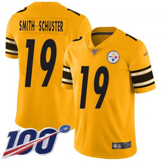 Nike Steelers #19 JuJu Smith-Schuster Gold Men's Stitched NFL Limited Inverted Legend 100th Season Jersey