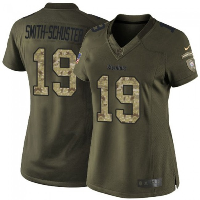 Women's Steelers #19 JuJu Smith-Schuster Green Stitched NFL Limited 2015 Salute to Service Jersey