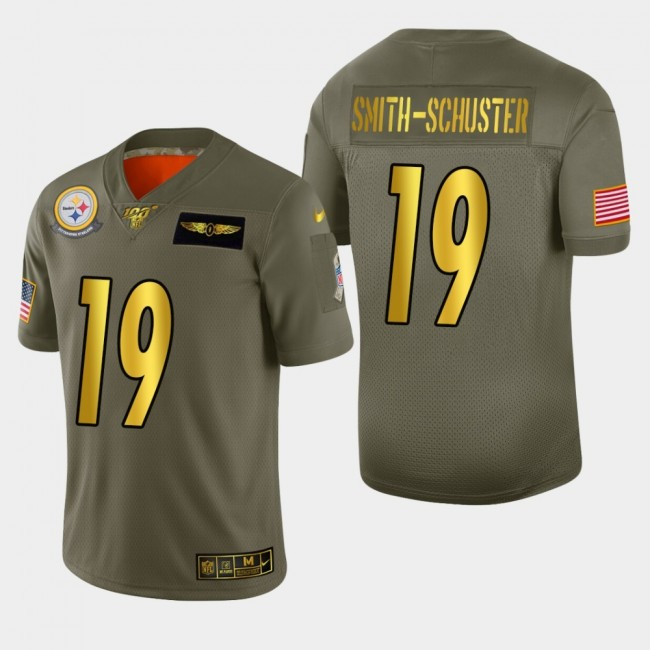 Nike Steelers #19 JuJu Smith-Schuster Men's Olive Gold 2019 Salute to Service NFL 100 Limited Jersey