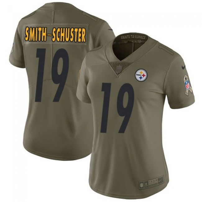 Women's Steelers #19 JuJu Smith-Schuster Olive Stitched NFL Limited 2017 Salute to Service Jersey