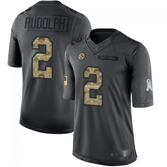Nike Steelers #2 Mason Rudolph Black Men's Stitched NFL Limited 2016 Salute To Service Jersey