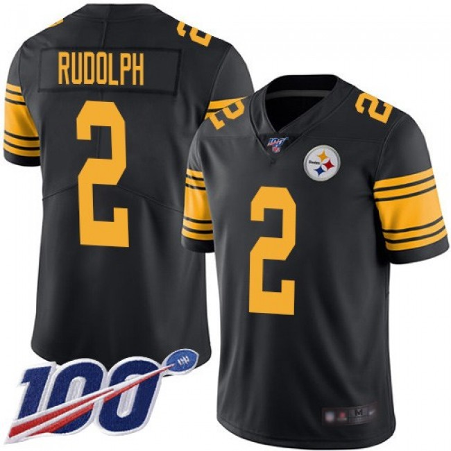 Nike Steelers #2 Mason Rudolph Black Men's Stitched NFL Limited Rush 100th Season Jersey