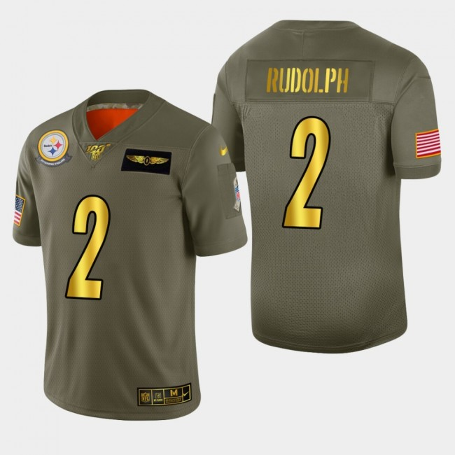 Nike Steelers #2 Mason Rudolph Men's Olive Gold 2019 Salute to Service NFL 100 Limited Jersey
