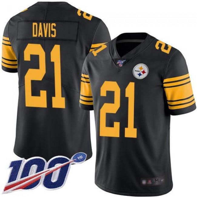Nike Steelers #21 Sean Davis Black Men's Stitched NFL Limited Rush 100th Season Jersey