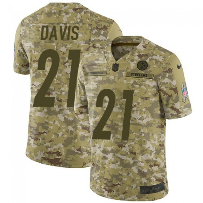 Nike Steelers #21 Sean Davis Camo Men's Stitched NFL Limited 2018 Salute To Service Jersey