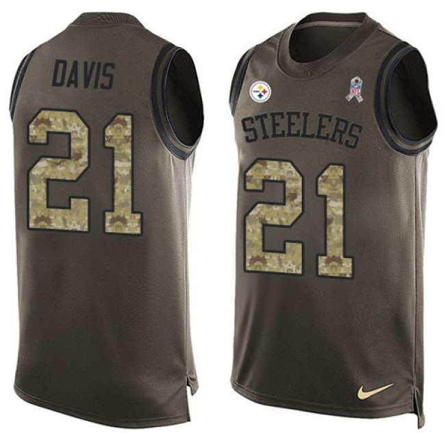 Nike Steelers #21 Sean Davis Green Men's Stitched NFL Limited Salute To Service Tank Top Jersey
