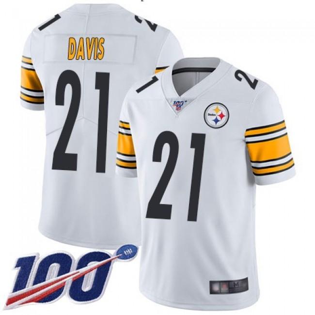 Nike Steelers #21 Sean Davis White Men's Stitched NFL 100th Season Vapor Limited Jersey