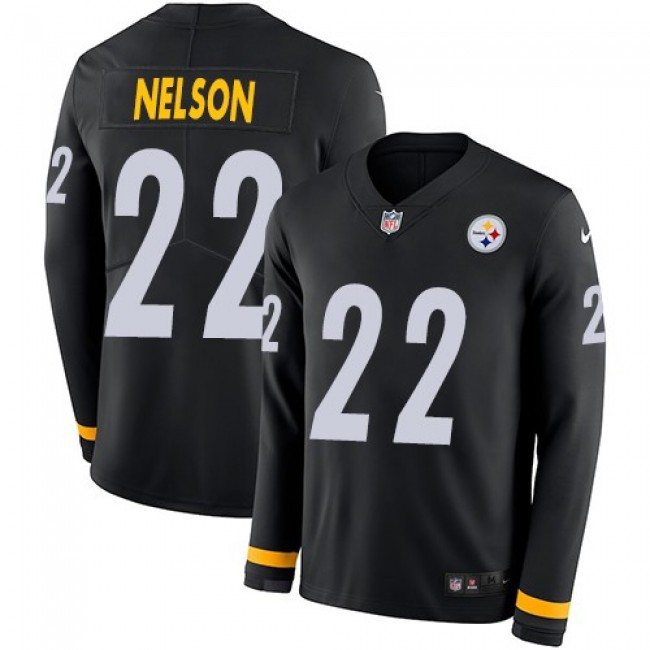 Nike Steelers #22 Steven Nelson Black Team Color Men's Stitched NFL Limited Therma Long Sleeve Jersey