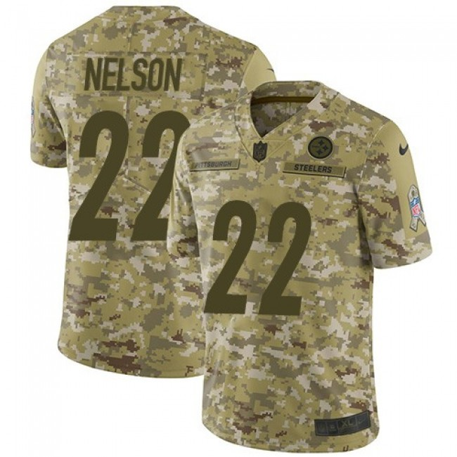 Nike Steelers #22 Steven Nelson Camo Men's Stitched NFL Limited 2018 Salute To Service Jersey