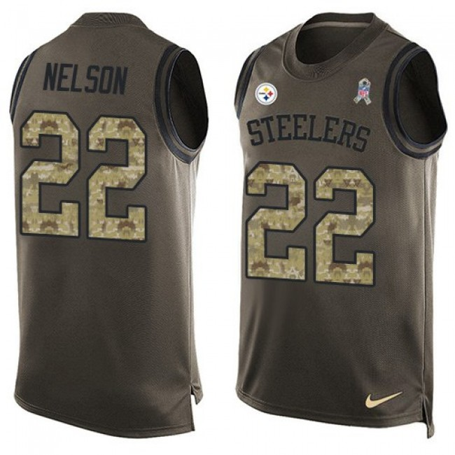 Nike Steelers #22 Steven Nelson Green Men's Stitched NFL Limited Salute To Service Tank Top Jersey