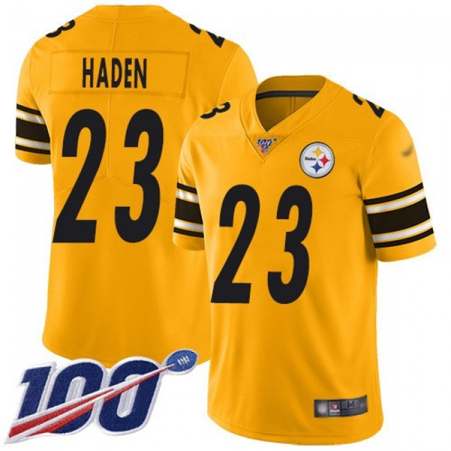 Nike Steelers #23 Joe Haden Gold Men's Stitched NFL Limited Inverted Legend 100th Season Jersey