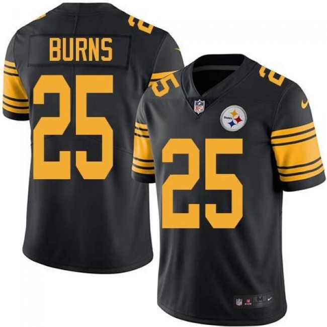 Nike Steelers #25 Artie Burns Black Men's Stitched NFL Limited Rush Jersey