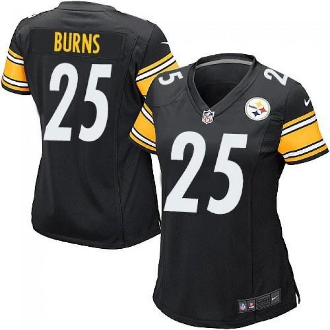 Women's Steelers #25 Artie Burns Black Team Color Stitched NFL Elite Jersey